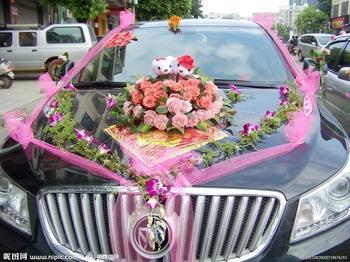 粉红玫瑰心形花车
