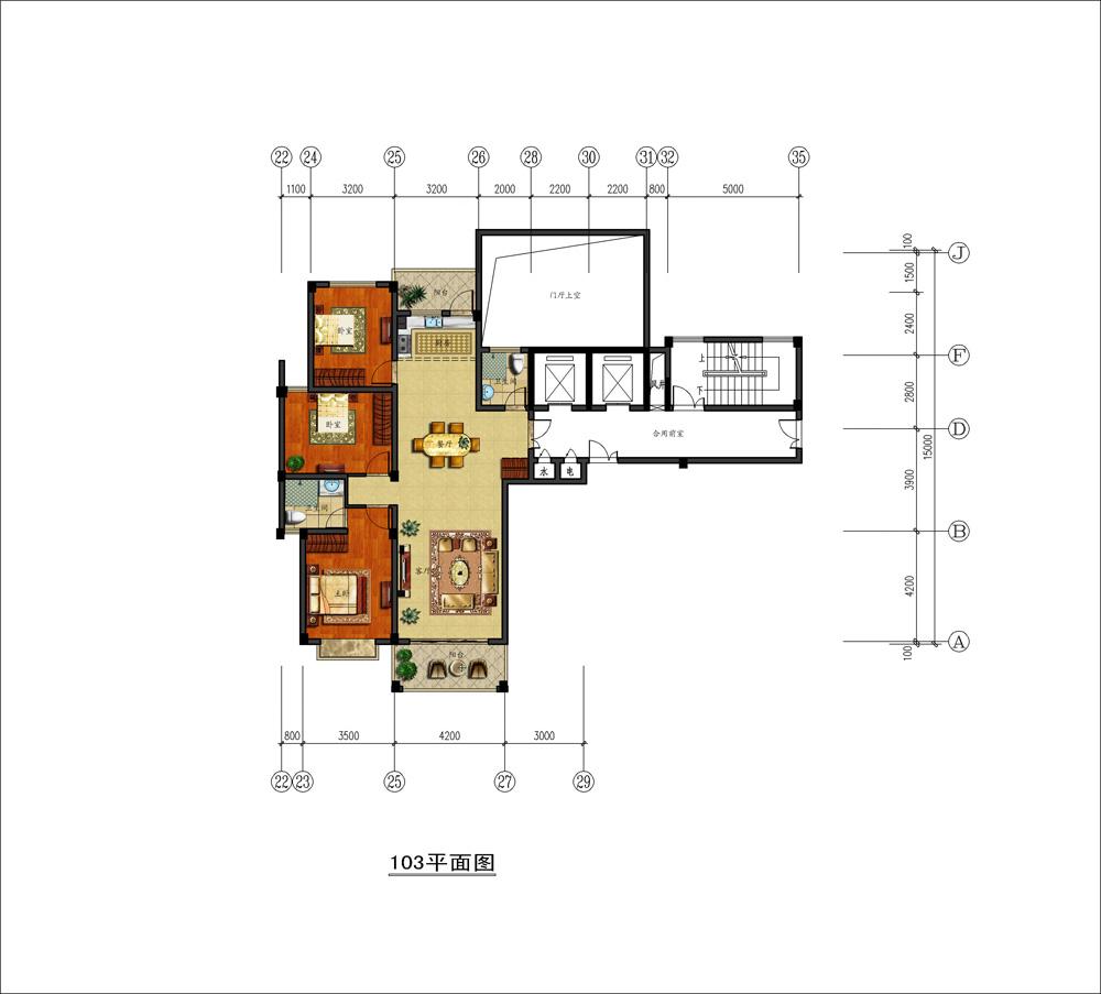 130平方1层房子设计图 宽480×360高 二楼120平方四室房子设计图 宽