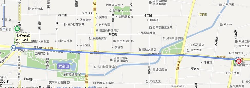 从紫荆山到点点梦想城的路线
