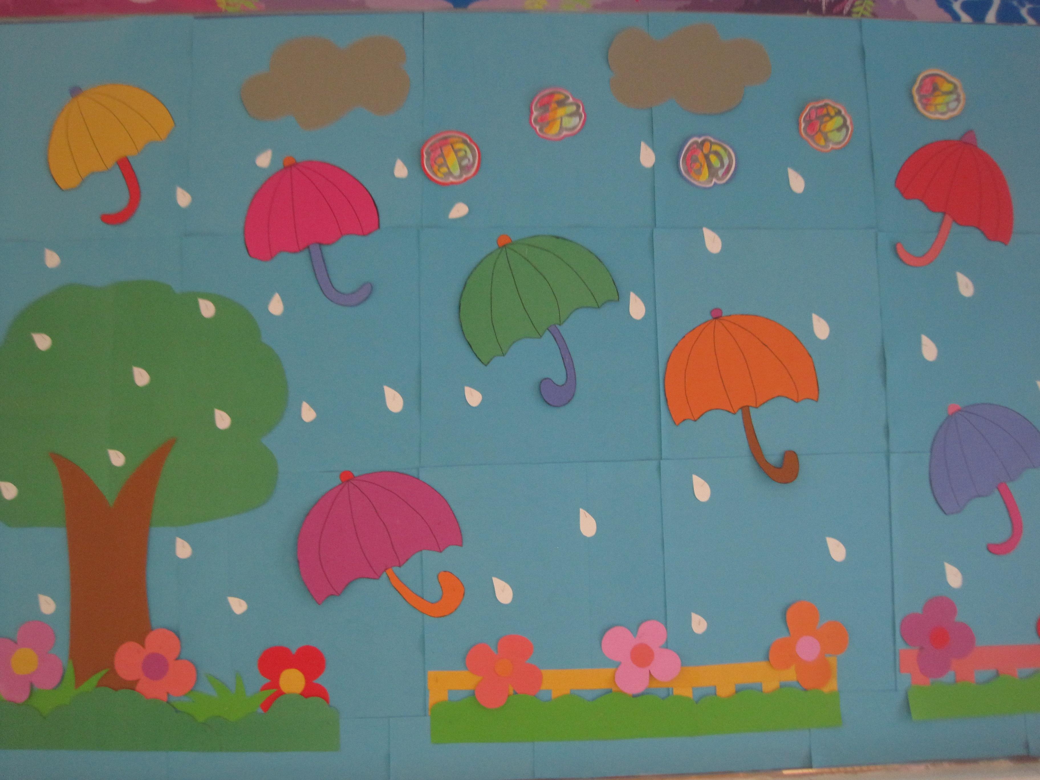 主题墙《雨天的花朵》_宜春行政中心幼儿园