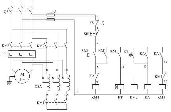 电动机自耦降压启动(自动控制电路)  电动机自耦降压起动(自动控制)电路原理图 上图是交流电动机自耦降压启动自动切换控制电路,自动切换靠时间继电器完成,用时间继电器切换能可靠地完成由启动到运行的转换过程,不会造成启动时间的长短不一的情况,也不会因启动时间长造成烧毁自耦变压器事故 控制过程如下: 1、合上空气开关QF接通三相电源。 2、按启动按钮SB2交流接触器KM1线圈通电吸合并自锁,其主触头闭合,将自耦变压器线圈接成星形,与此同时由于KM1辅助常开触点闭合,使得接触器KM2线圈通电吸合,KM2的主触头闭